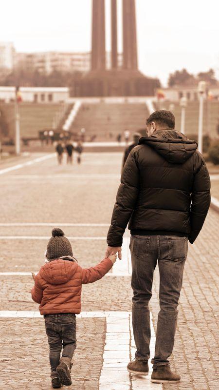 Father Son walk Wallpaper