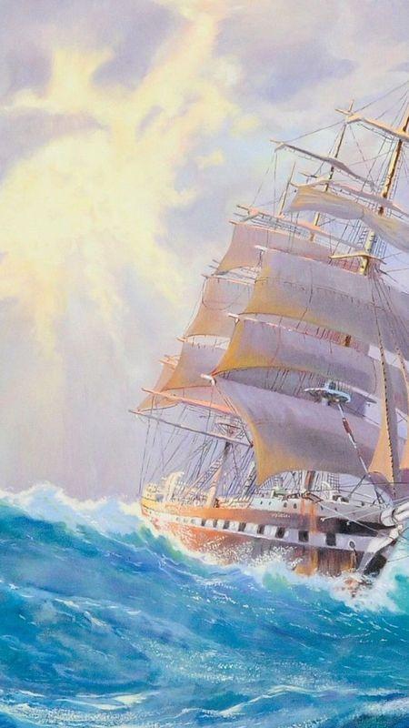 Ship on ocean Wallpaper