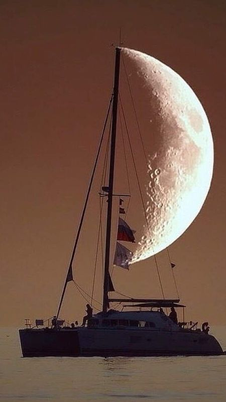 Ship with Moon Wallpaper