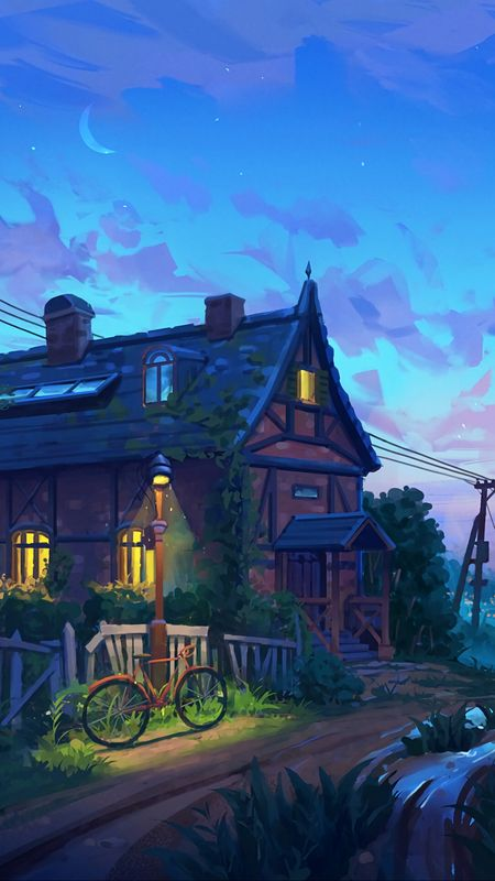 Artistic House in the Evening Wallpaper