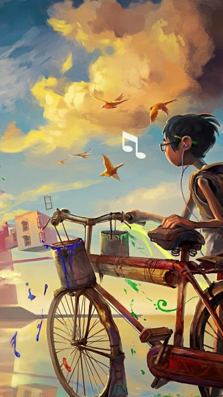 Boy Bike Music Wallpaper